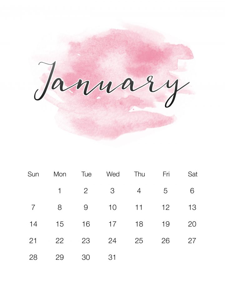 Pink Watercolor Wash - January