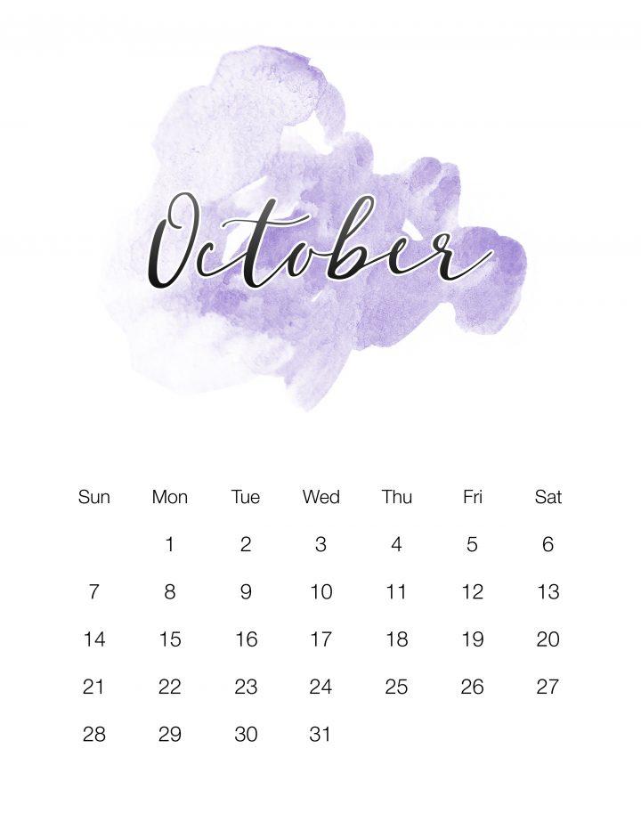 Purple Watercolor Wash - October