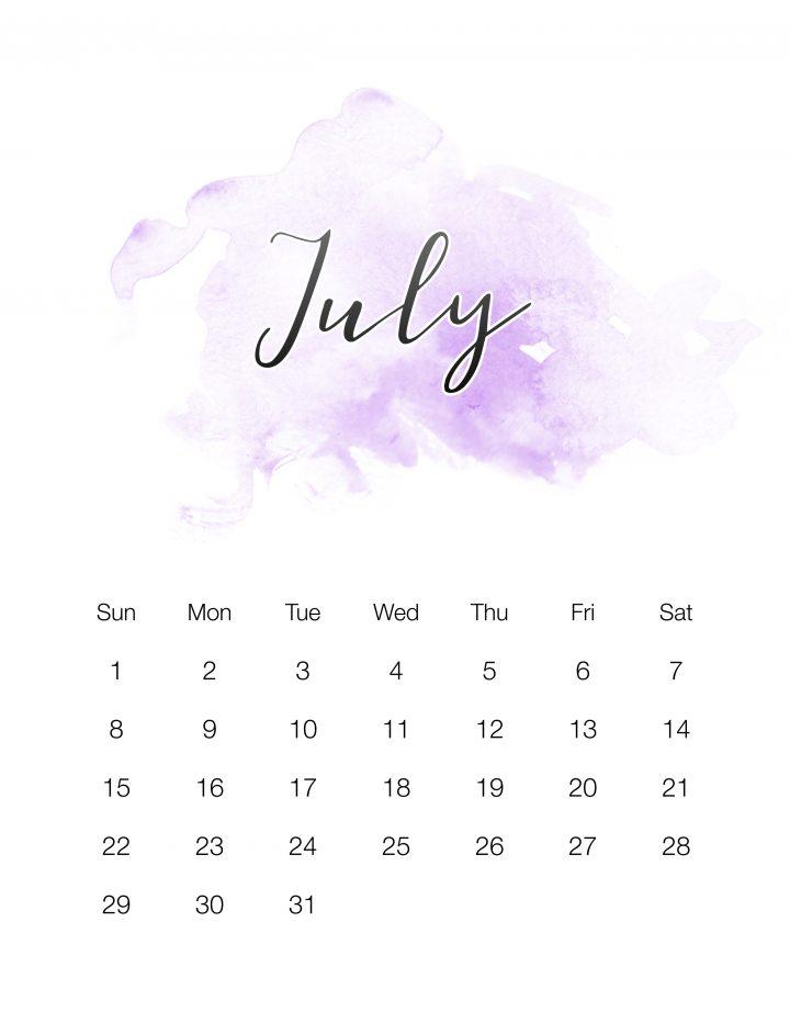 Purple Watercolor Wash - July