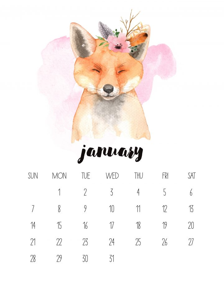The 2018 Watercolor Animal Calendar features a cute fox for January