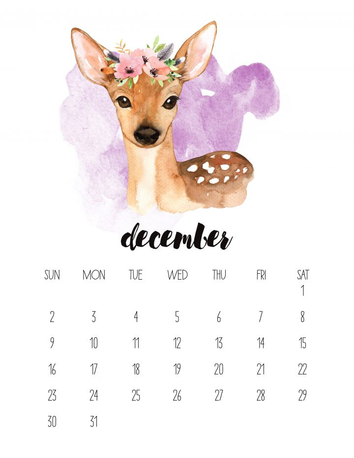 A flower donned deer is the cutest face of December in this FREE 2018 printable calendar