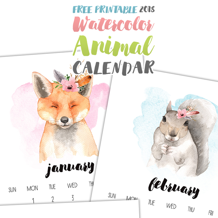 This 2018 calendar has adorable watercolor animal painting on each page -- and it's FREE