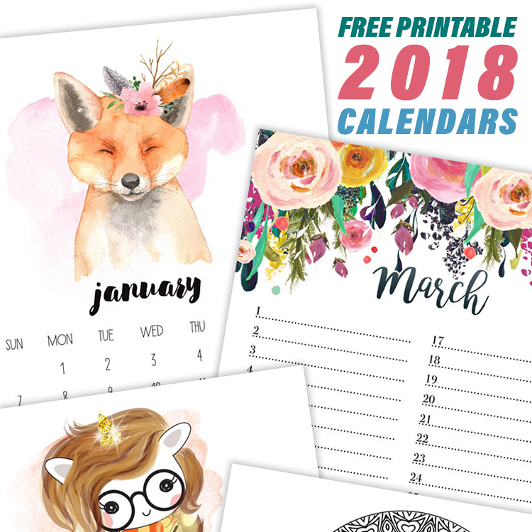 Free Printable Calendars - The 2018 Collection from The Cottage Market
