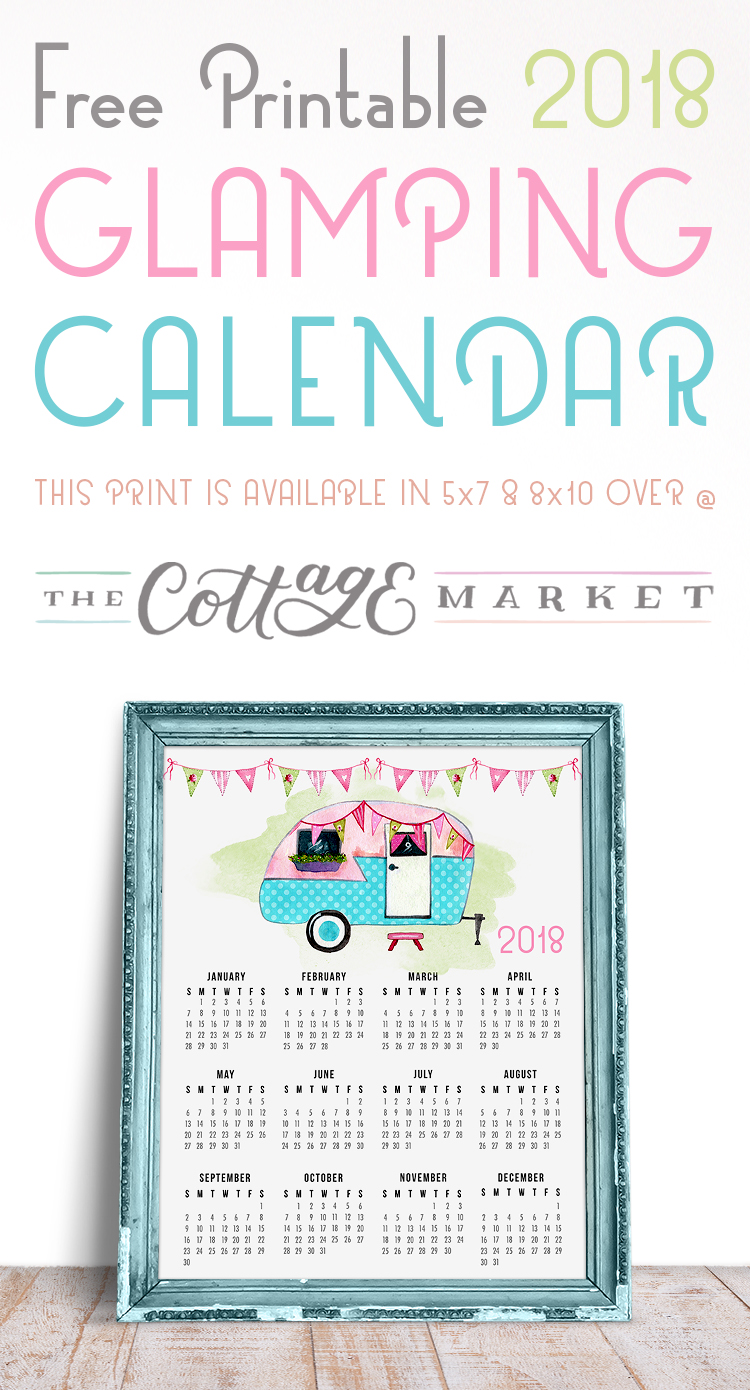 Glamping Calendar - 2018 Printable Calendars Collection