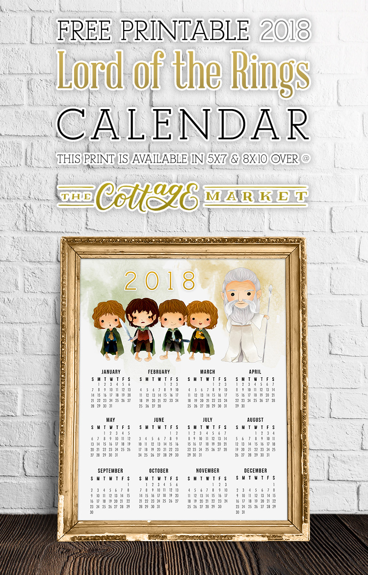 Cartoon Lord of The Rings Character Calendar
