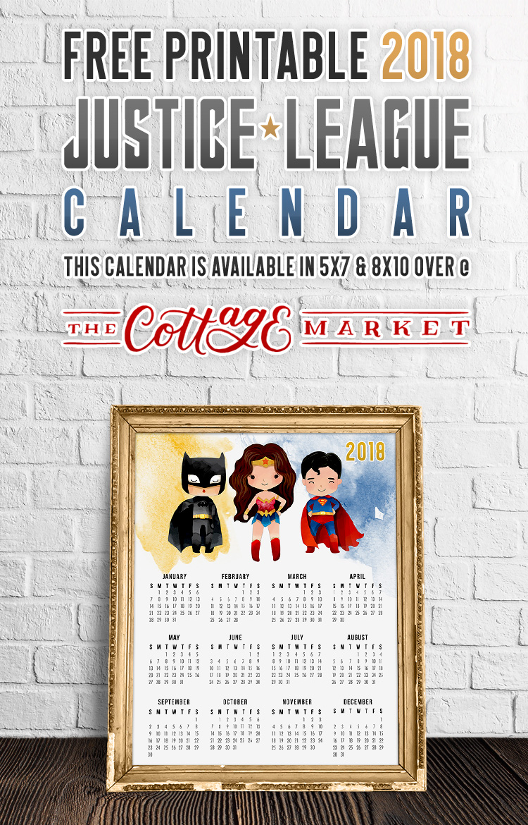 Justice League Cartoon Characters Calendar - 2018 Printable Calendars Collection