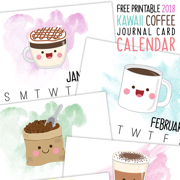 Kawaii Coffee Printable Calendar