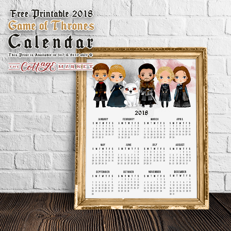 Free Printable Game of Thrones Calendar - 2018 Printable Calendars Collection