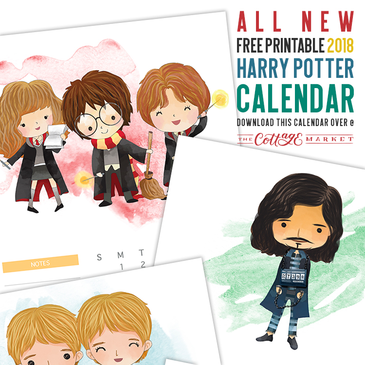 Harry Potter Cartoon Character Calendar - 2018 Printable Calendars Collection