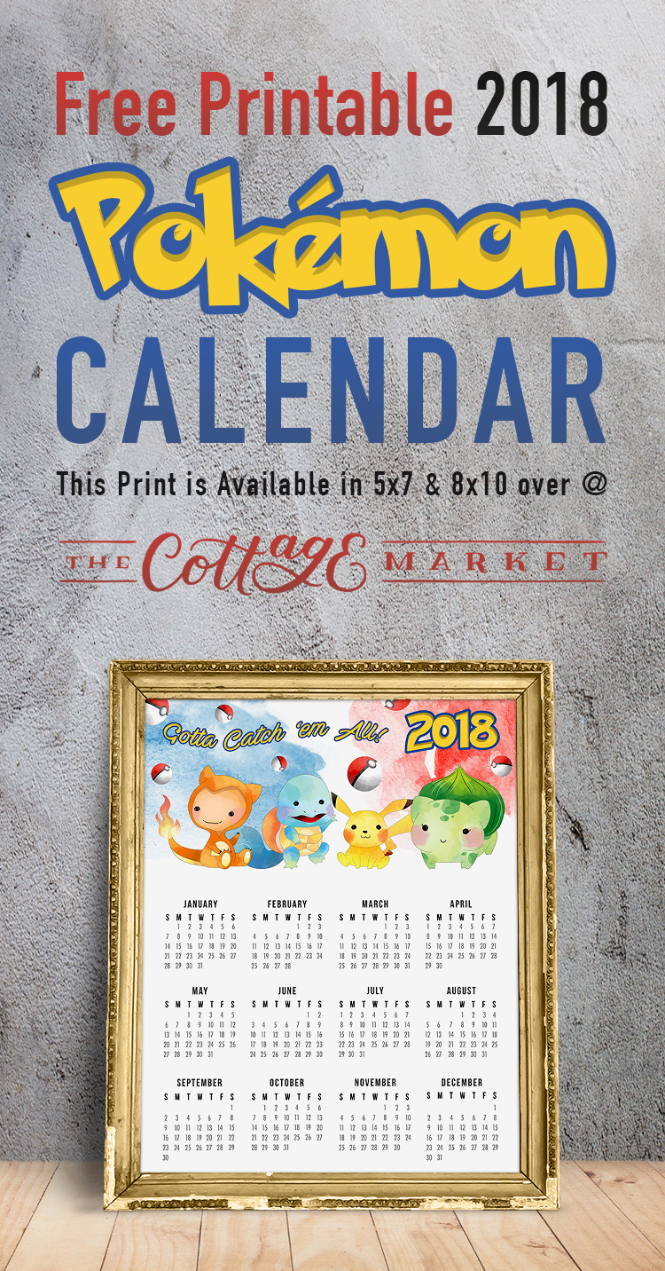 Free Printable Pokemon Calendar - 2018 Printable Calendars Collection