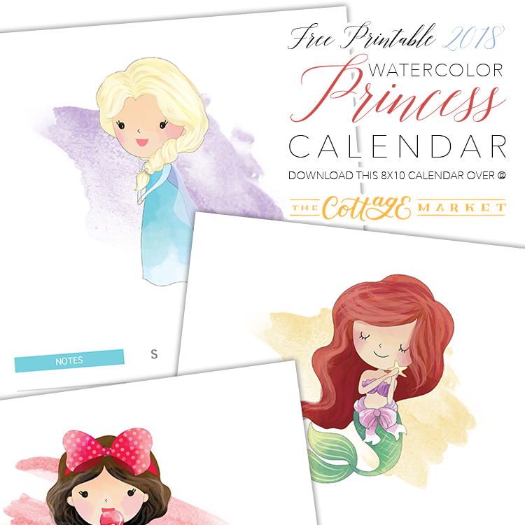 Watercolor Disney Princess Calendar - 2018 Printable Calendars Collection