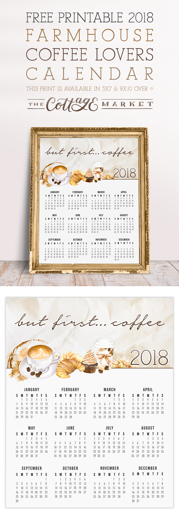 Farmhouse Coffee Lovers Calendar - 2018 Printable Calendars Collection