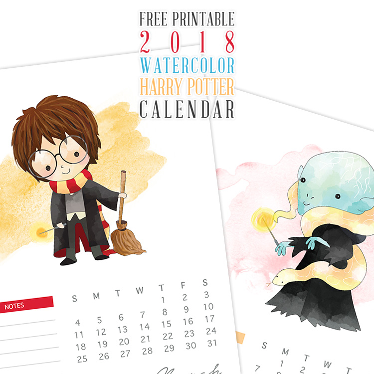 Watercolor Harry Potter Characters Calendar - 2018 Printable Calendars Collection