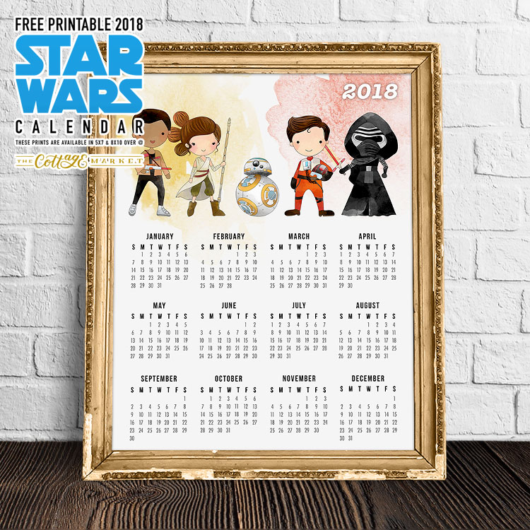 Free Printable Star Wars Character Calendar - 2018 Printable Calendars Collection