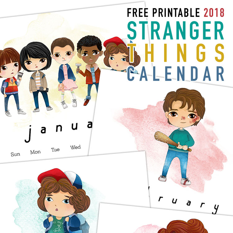 Free Stranger Things Cartoon Characters Calendar - 2018 Printable Calendars Collection