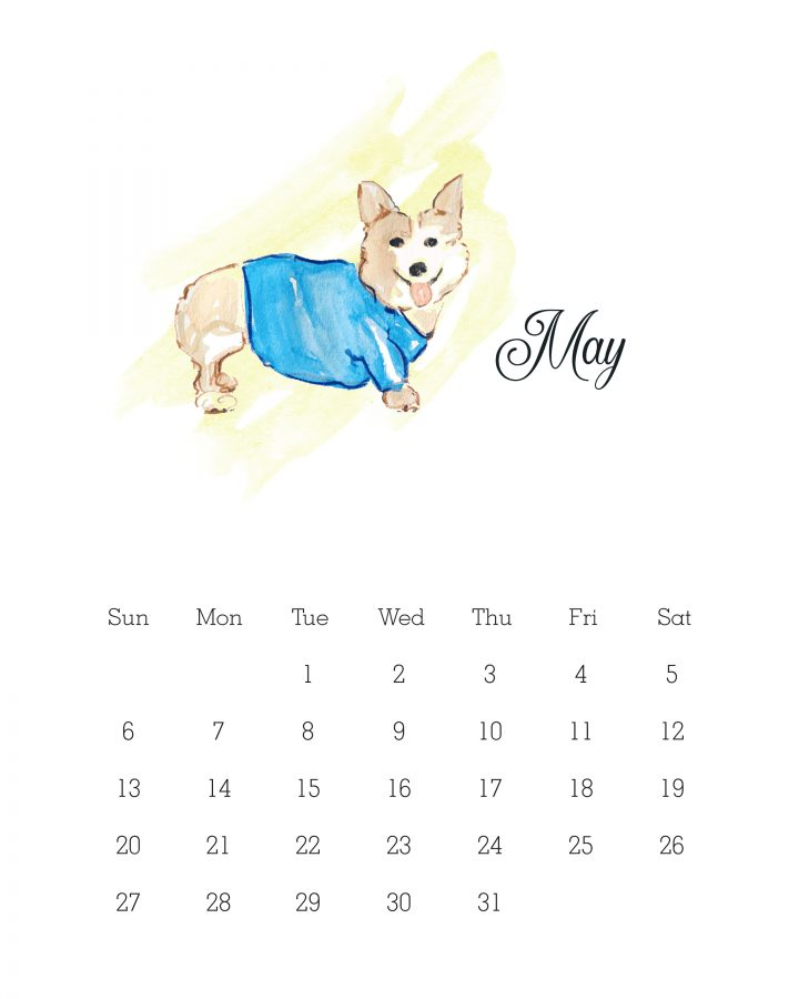 May 2018 - Watercolor Dog Calendar