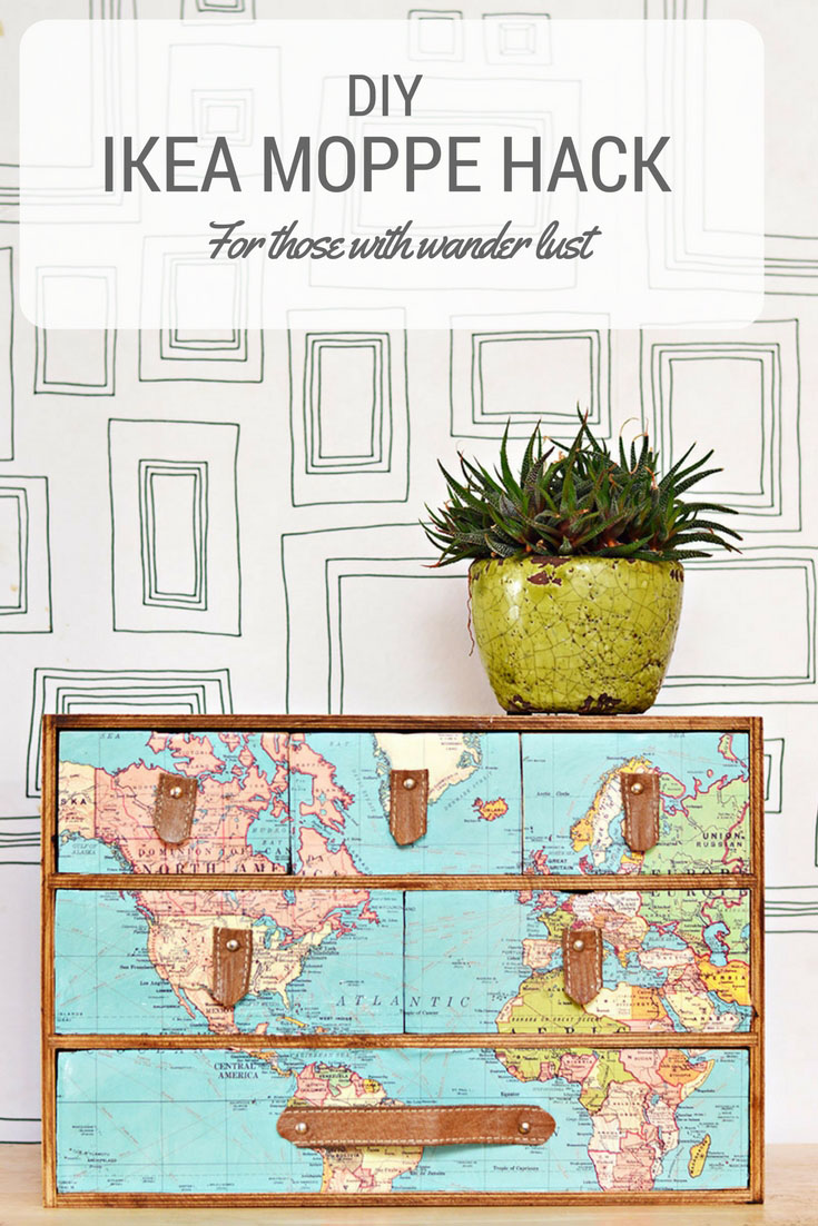 This IKEA Moppe was transformed into a stunning world map cabinet