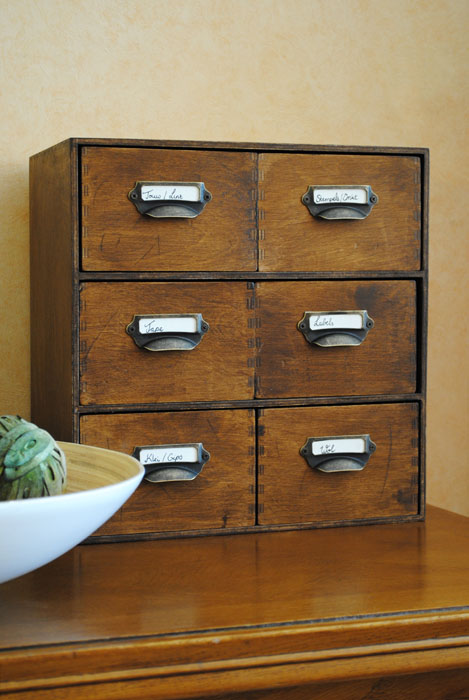 These vintage letter holder drawers are perfect for decorative or functional storage