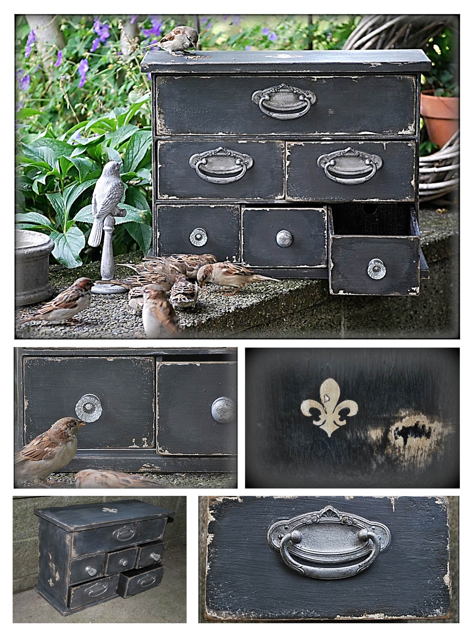 This rustic cabinet is painted with chalkboard paint and distressed for a wore, vintage look