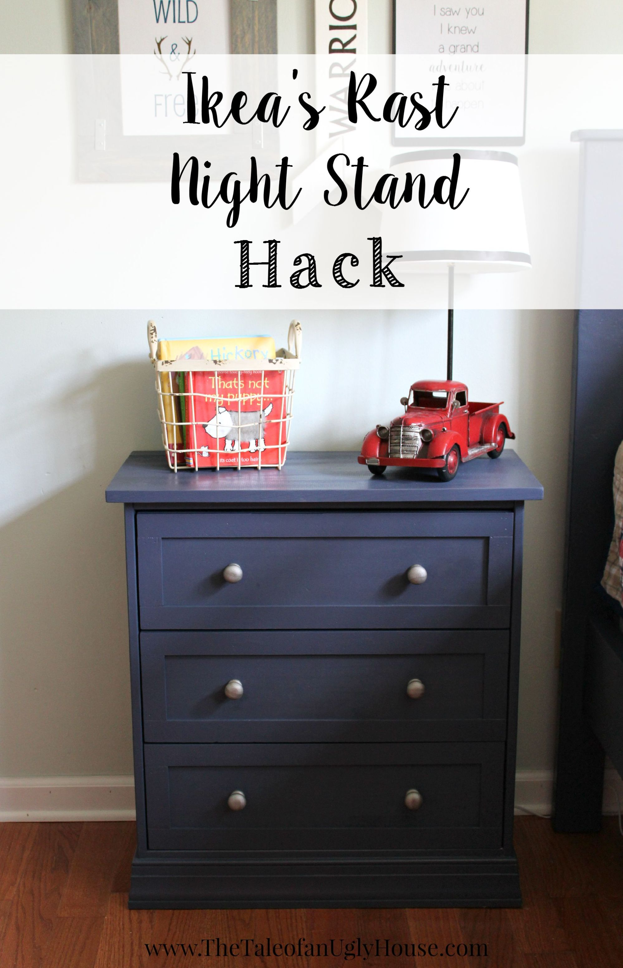 This rast nightstand painted blue with silver knobs is adorable.