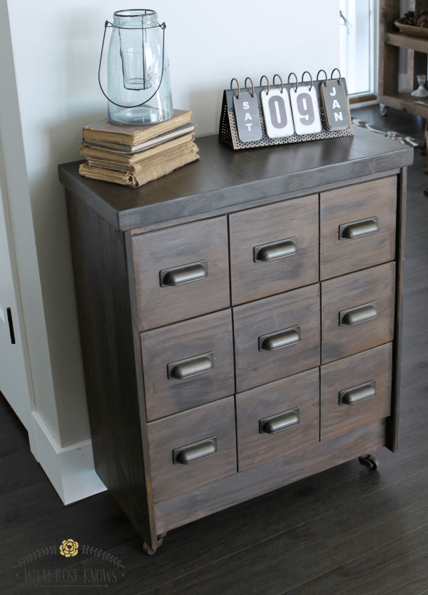 This refinished apothecary cabinet adds a fun farmhouse style element to the home.