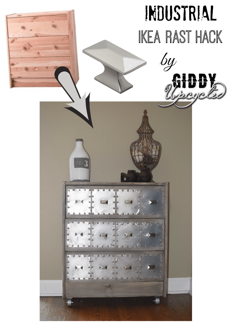 This industrial Ikea rast features silver accents.