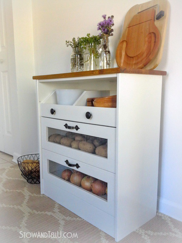 This versatile Ikea chest works great for holding vegetables and dishes.