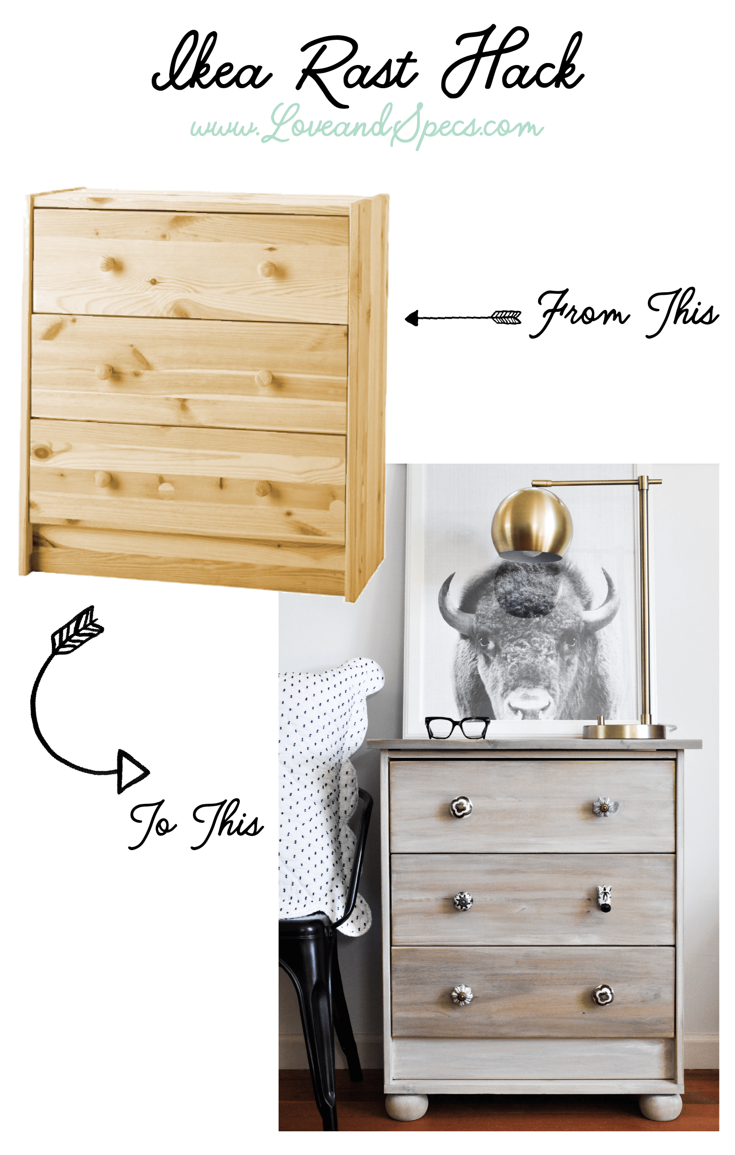 This transformed Ikea rast hack compliments the antique handles.