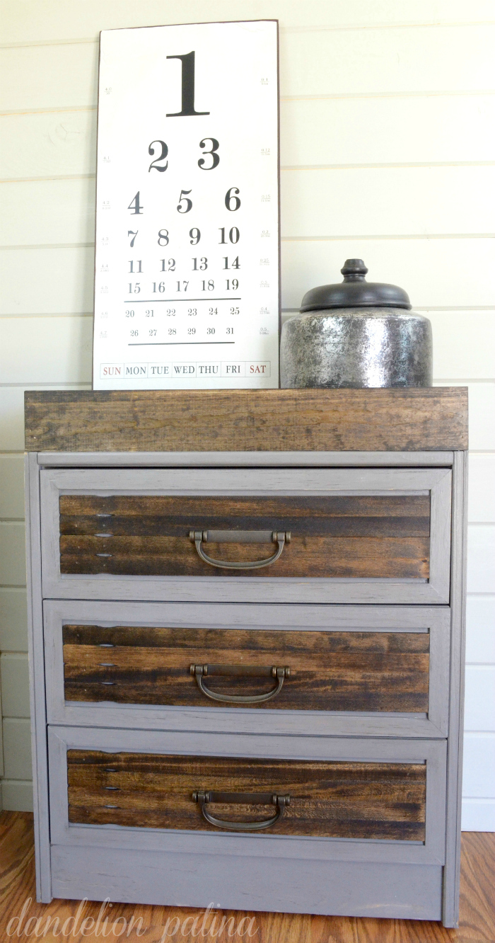 This unique chest painted purple and stained dark is farmhouse chic.