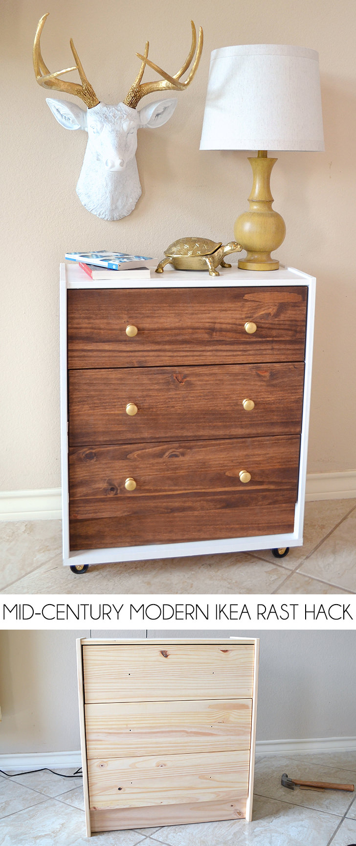 This IKEA Rast dresser just needed a little paint and wood stain to become a gorgeous statement piece