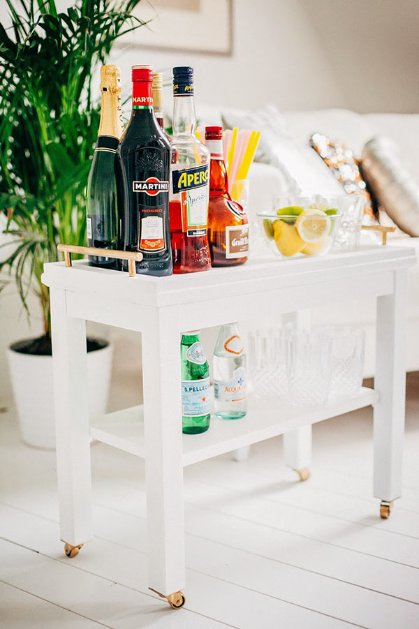 This IKEA Nornas turned into a mobile cocktail bar and liquor cabinet is one of my favorite easy IKEA hacks