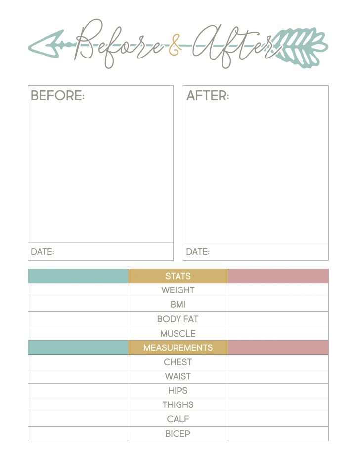 Use this free printable weight loss sheet to track your before and after results.
