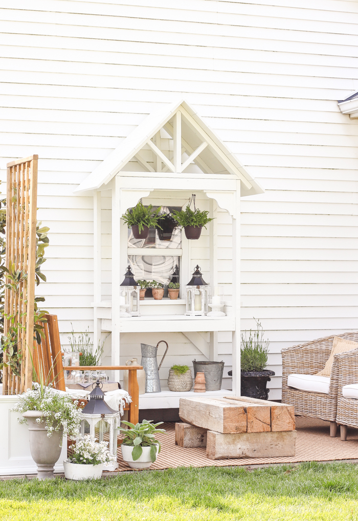 This small patio space has plenty of storage and sitting space