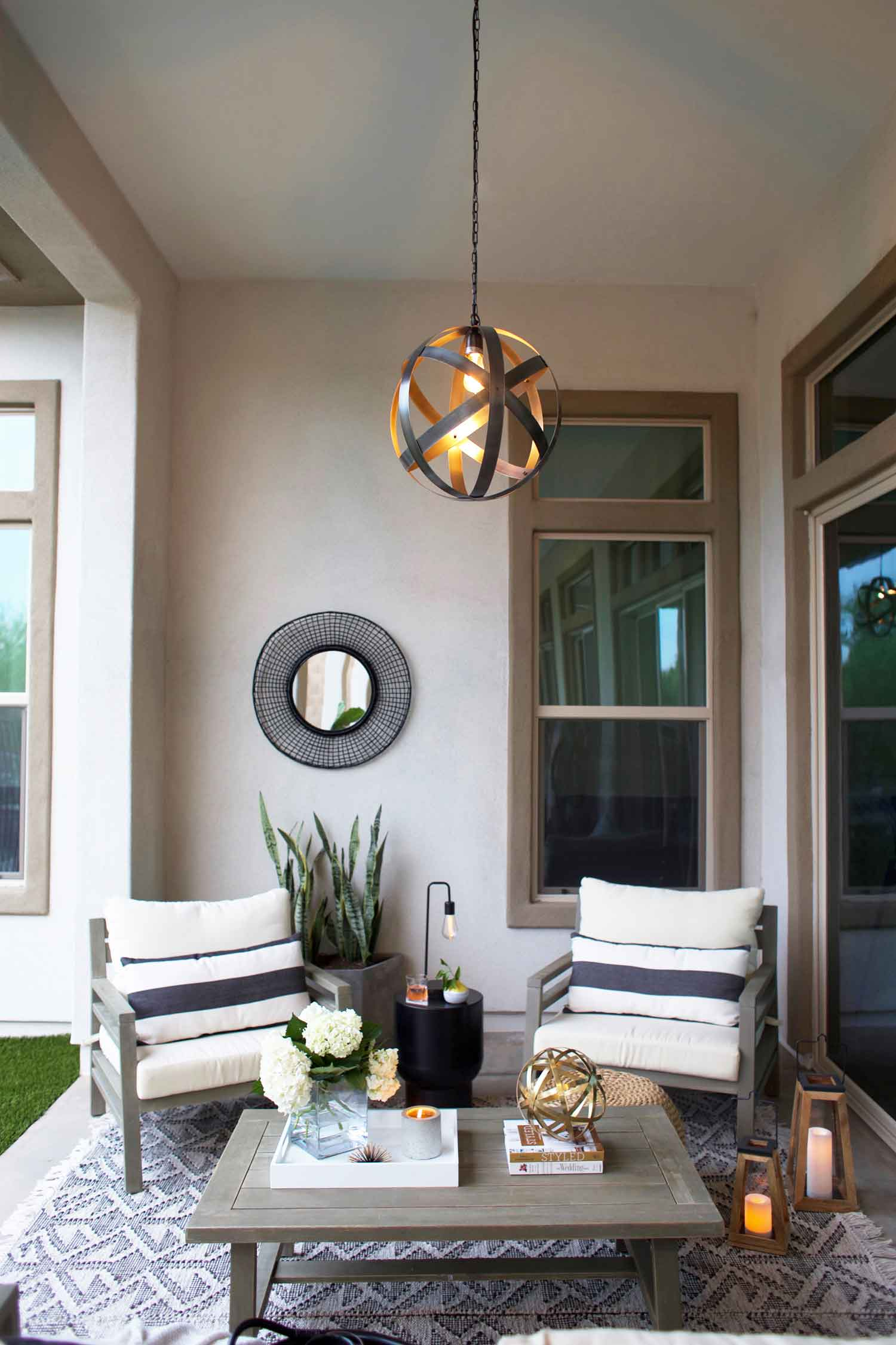 This modern farmhouse patio space is a perfect example of how to maximize a small space