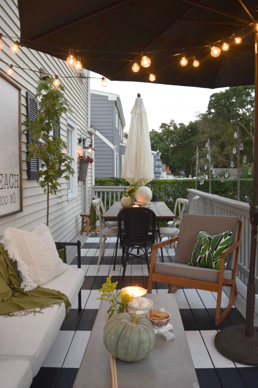 This small, long patio space is a perfect place to hang out and grab a few drinks with friends
