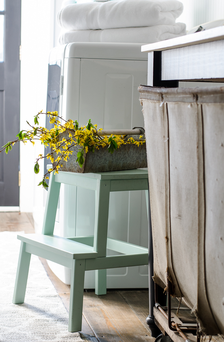 This little stool can be both functional and decorative, and looks great in this room