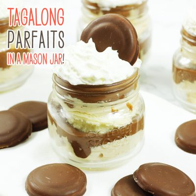No Bake Tagalong Parfaits in a Mason Jar