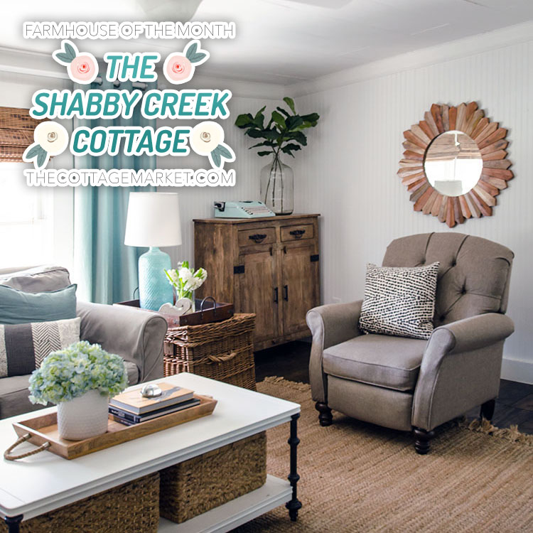 The Shabby Creek cottage's living room is full of simple and stunning farmhouse elements