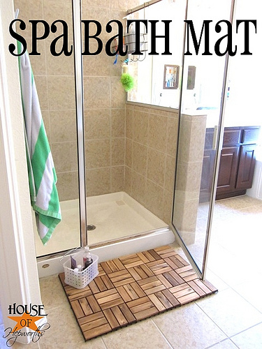 A spa style bath mat is a simple DIY with IKEA pieces