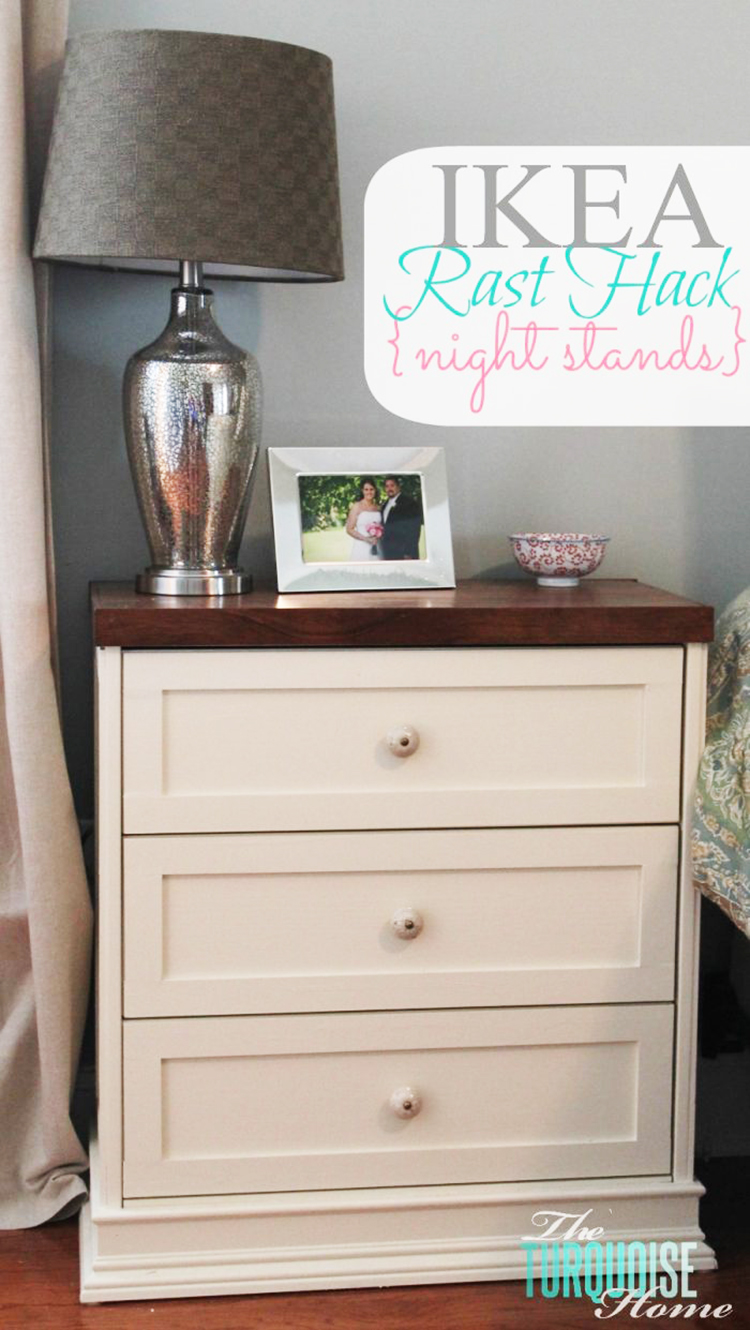 This IKEA side table hack got an upgrade with a coat of cream paint and dark wood stain