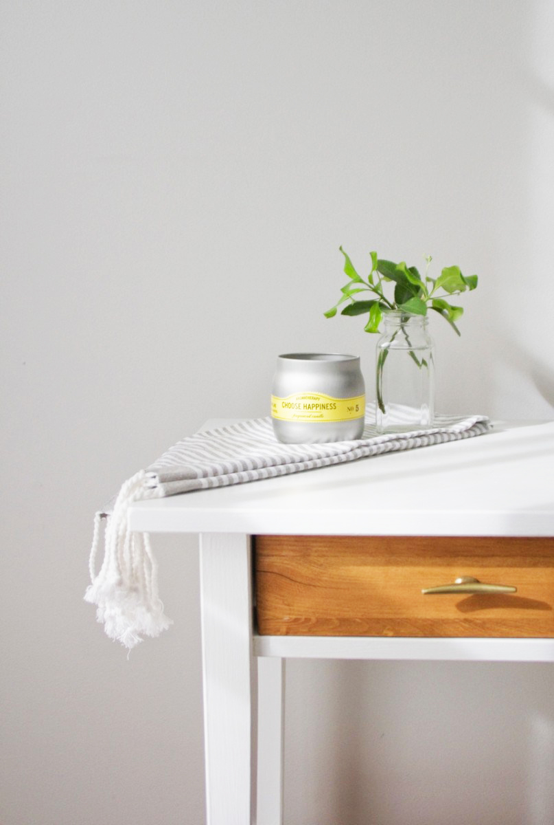 White paint and new hardware on this IKEA side table are subtle upgrades that gives this table a new style