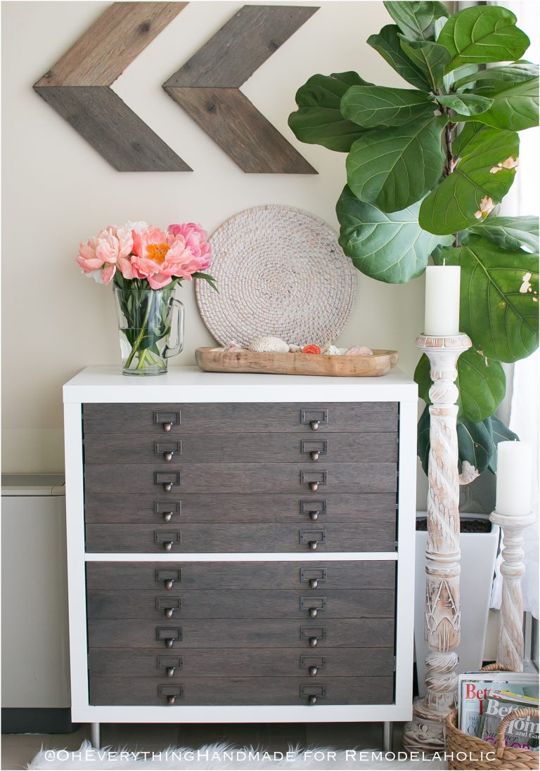 This contemporary side table looks great with a dark espresso stain and white paint