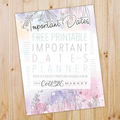 Free Printable Important Dates Planner
