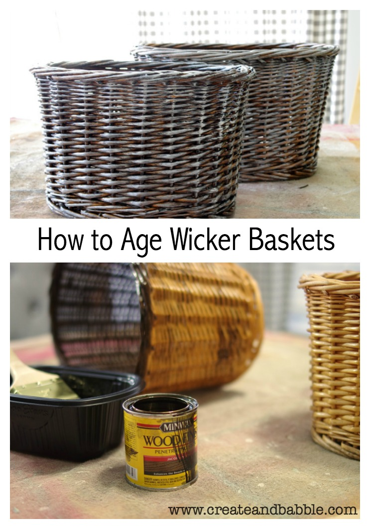 These DIY aged wicker baskets painted dark look rustic and vintage.