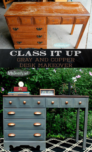 This renovated dresser with copper handles looks brand new.