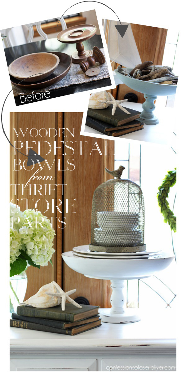 These DIY wooden pedestal bowls painted look vintage and farmhouse chic.
