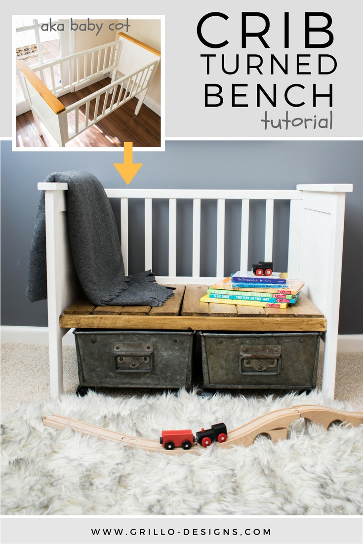 This DIY crib turned bench is creative and functional too.
