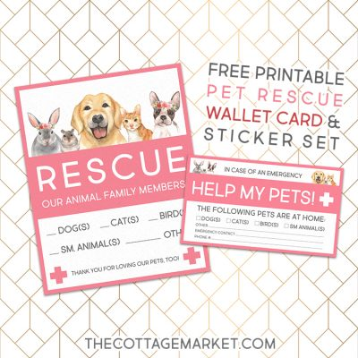 Free Printable Pet Rescue Wallet Card and Sticker Set