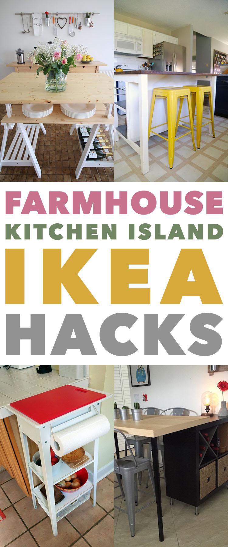 Farmhouse kitchen island IKEA hacks.