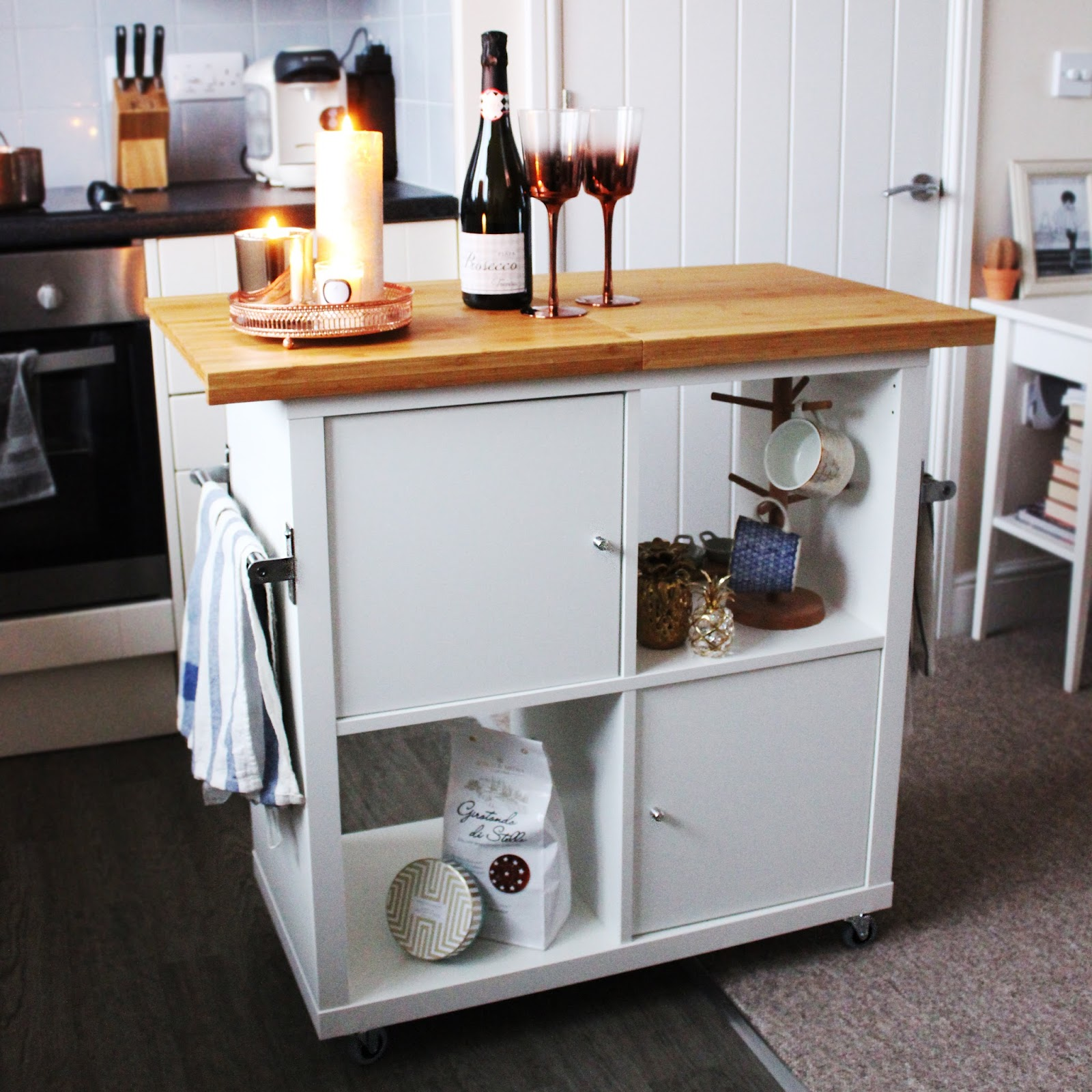 This kitchen island has tons of storage space.